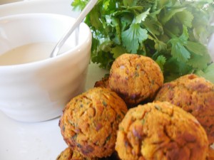 Seaweed Recipes: Sweet Potato Falafel with Lemon Tahini Dressing. Added seaweed nutrition and seaweed benefits