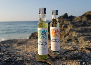 Weed & Wonderful oils on a beach with sunlight