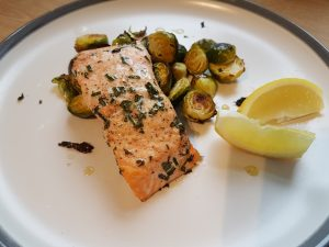 salmon and sprouts smoked seaweed oil